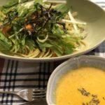 おうちごはん 2020.6.6  水菜と鮭の和風パスタ